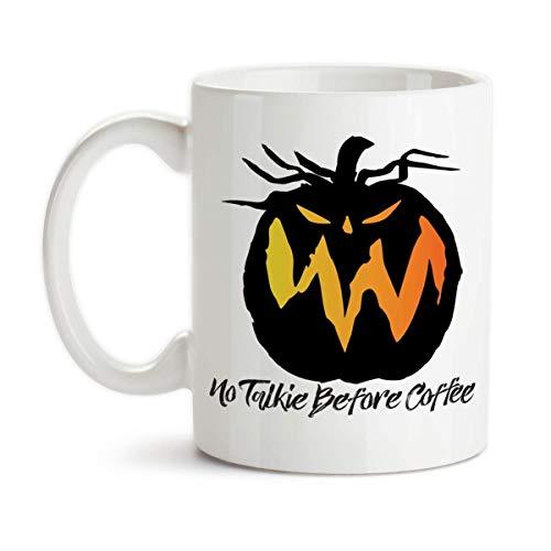 (Halloween Jack O Lantern No Talkie Before Coffee Ceramic Coffee Mug Scary Pumpkin)