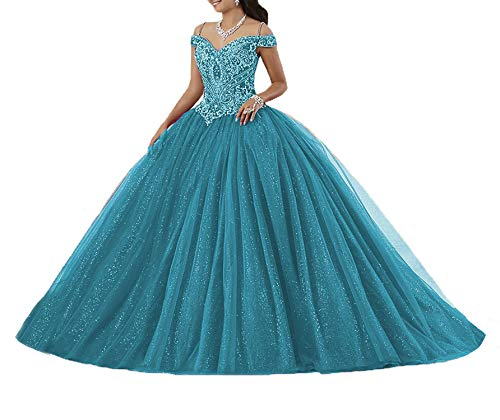 (Graceprom Women's Puffy Beaded Crystal Quinceanera Dresses Ball Gown Sweet 16 Dresses 6)