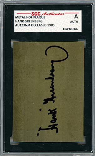 Hank Greenberg Autographed 1981 HOF Metal Plaque Card Detroit Tigers SGC #AU123634 ()