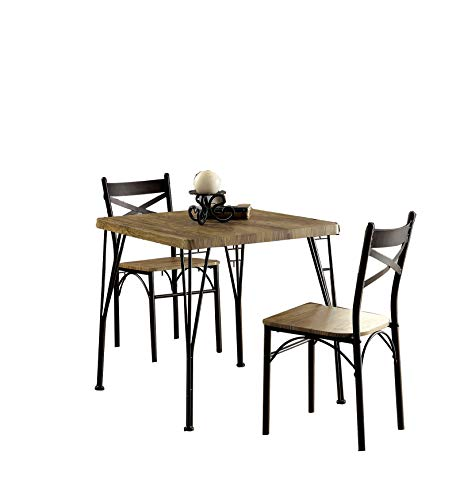 - Benzara BM119853 Industrial Style 3 Piece Dining Table Set of Wood and Metal, Brown and Black