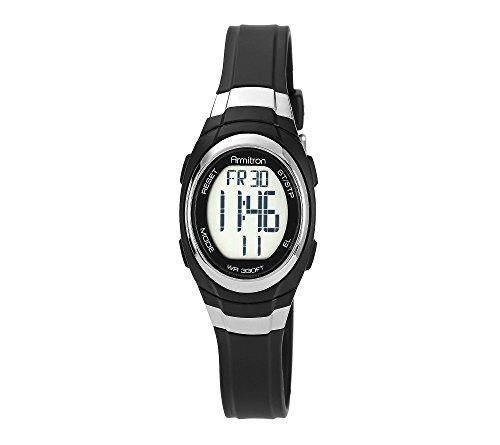 Armitron Womens Digital Chronograph Black Resin Strap Watch