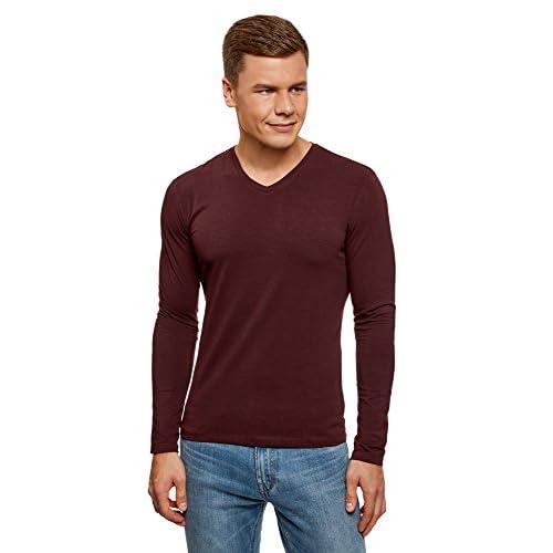 62c5a394410 En venta oodji Ultra Hombre Camiseta sin Etiqueta de Manga Larga con Escote  Pico