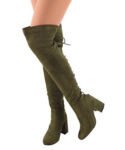 RF RAUM DER MODE Frauen Block-Block-Block-Block-Ferse-Stretch-Stiefel - erhältlich in mittlerer und breiter Wade Lace Up Olive - Mittleres Kalb