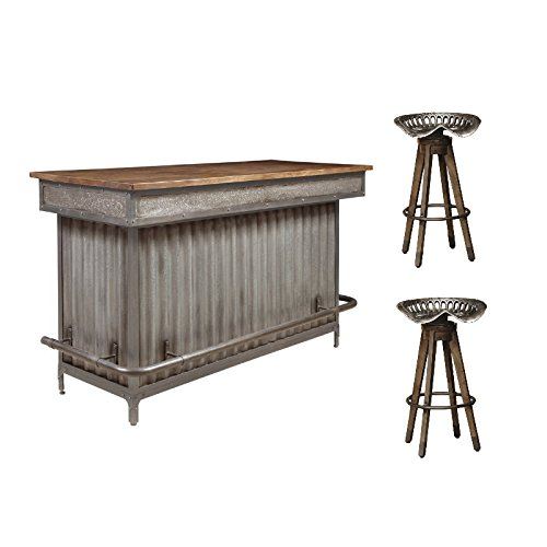 (Pulaski Wood and Metal Bar with 2 Tractor Seat Barstools)
