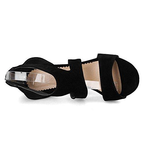 RAZAMAZA Mujer Moda Punta Abierta Tacon Delgado Sandalias Correa al Tobillo Cremalleraper Zapatos Negro