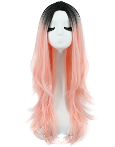 Karlery Women Long Wave Dark Root Gradient Wig Cosplay Halloween Wig Natural As Real Hair (Lady Gaga Curly Blonde With Pink Wig)