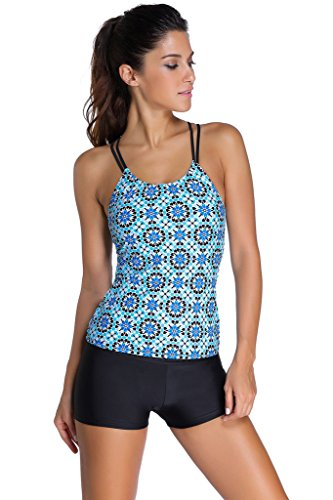 ZKESS Womens Tribal Printed Tankini Top With Boyshort Bikini Set Swimsuit Large Size Light Blue