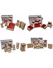 مجموعة من 4 غرف أثاث خشبي للدمى