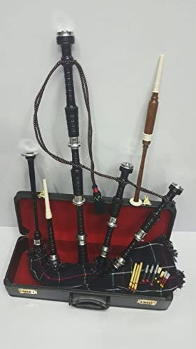 Great Scottish Highland Bagpipe Rosewood Silver Mounts Various Color Free Learning Book & Accessories (Black Silver Mackenzie Cover) / Great Scottish Highland Bagpipe Rosewood Silver Mounts Various Color Free Learning Book & Access...