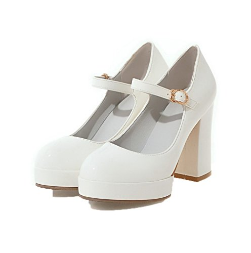 AgooLar Alto Donna di Fibbia Maiale Punta Ballet Puro Bianco Flats Tacco Chiusa Pelle rqr8ZTw