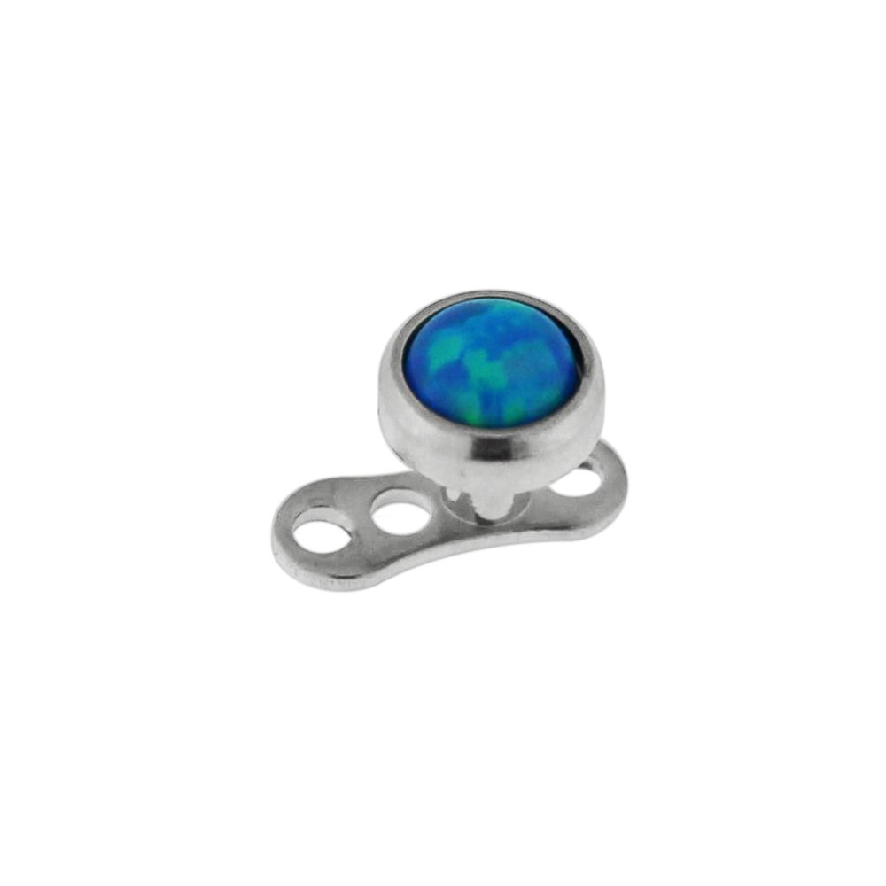 Bezel Set 4MM Blue Opal StoneTop with Grade 23 Solid Titanium Base Dermal Anchor Piercing Jewelery by PiercingPoint