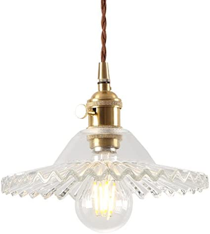 IJ INJUICY Nordic Glass Brass Chandelier Retro Lotus Umbrella Pendant Hanging Light