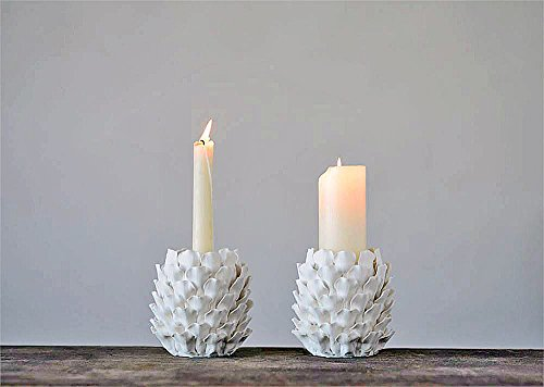 (Creative Co-op Handcrafted Stoneware Pinecone Shaped Taper or Pillar Candle Holder - Set of 2)
