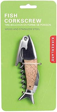 Kikkerland Acero Inoxidable Lightwood Madera de Roble de Peces sacacorchos, Plateado