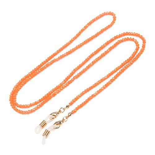 Reading Glasses Sunglasses Strap Holder - Long Chain Strand Eyewear Retainer Necklace Cubic Rhinestone, Sparkly Crystal Bead (Tiny Beads - Orange)