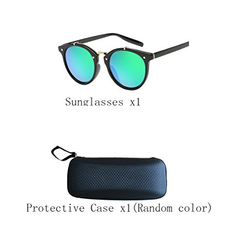 soleil Retro de Green lunettes Women's Oversized Fashion Sunglasses Men's Zhhaijq Black des Mirror Polarized Round amp;Blue YTnwAHUHxq