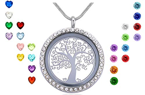 Xingzou Family Tree Life Floating Locket Necklace with 24Pcs Birthstones, DIY Charms Memory Pendant, Best Gift for Mom Mother Mummy Grandma Nana Aunt Niece Women ()