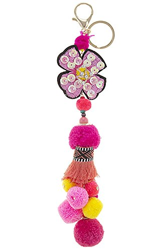 Vintage Costume Jewelry Nyc (TRENDY FASHION JEWELRY SEQUINED FLORAL POM POM KEYCHAIN BY FASHION DESTINATION | (Pink/Multi))