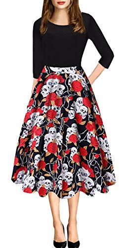 Halloween Costumes for Women, Women's Vintage Cocktail Dress Elegant A Line Scoop Neck Floral Print Swing Casual Party Dresses with Pocket (S, Rose Skull)