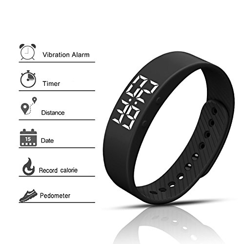 feifuns [Upgrade Version] Smart Pedometer Watch Non-Bluetooth Vibration Alarm Sport Bracelet Fitness Tracker Smart Watch with Timer Step Calories Counter Distance for Walking Kids