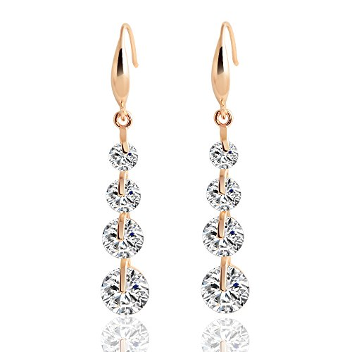 Double Leaning Post (Winter's Secret Fashion Rose Gold Color Calabash Shape Beauty Dangle Crystal Zircon Girl Earring)
