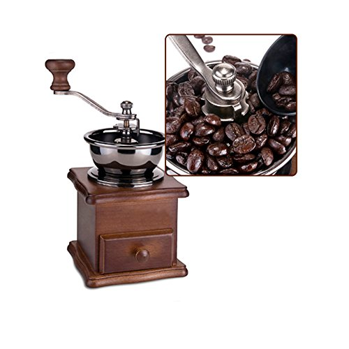 Zorvo Wooden Mini Coffee Grinder Manual Coffee Bean Mill Stainless Steel Burr Small Classical Handmade Coffee Grinder hand crank Adjustable Quiet With Grind Settings Precision Coffee