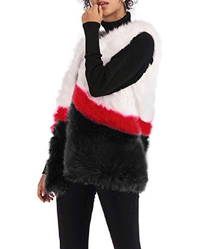 Lishihuan En Black Block Fourrure Gilet Femmes Color Manches Sans Imitation Pour BtwBrAq