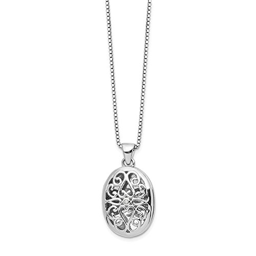 925 Sterling Silver .01ct Diamond Oval Locket Chain Necklace Pendant Charm Fine Jewelry Gifts For Women For Her
