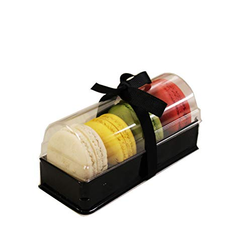 Clear and Black Base Plastic French Macarons Small Gift Boxes - Holds 4 Macarons - Cavity Size 1.76'' x 1'' - Pack of 20 ()