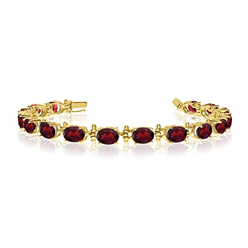 14K Yellow Gold Oval Garnet Tennis Bracelet (6 Inch Length)