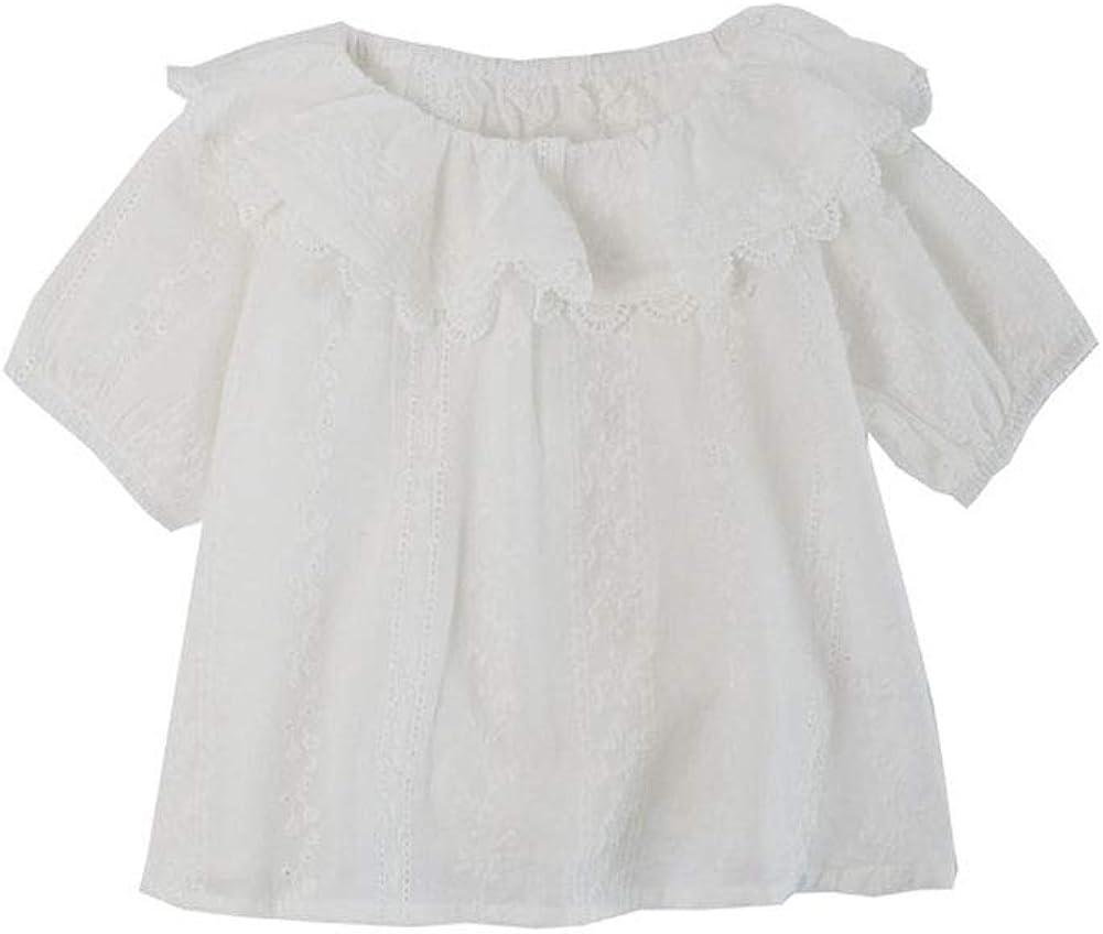 ALLAIBB Niña niños Blusa de Manga de Burbuja Camisa Blanca Superior Collar de muñeca: Amazon.es: Ropa y accesorios