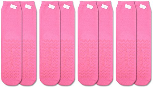 Secure (4 Pairs) Non Skid Socks with All-Around Grip Tread - Hospital Style for Elderly Fall Injury Prevention ... (Pink)