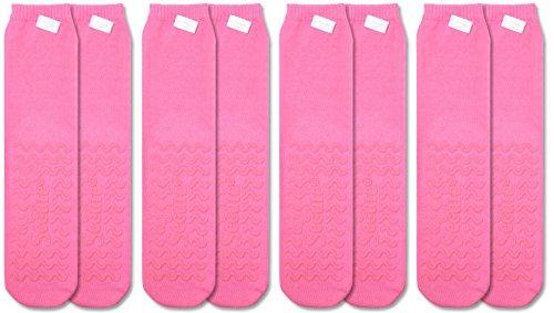 UPC 734122002016, Secure (4 Pairs) Non-Skid / Non-Slip Slipper Socks for Fall Prevention, Pink