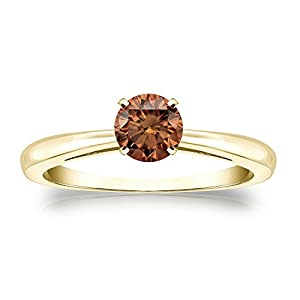 14k Yellow Gold 4-Prong Round-cut Brown Diamond Solitaire Ring (1/2 cttw, Brown, SI2-I1) Size 9