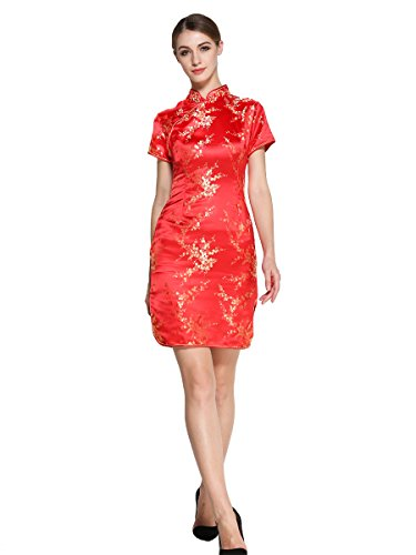 Bitablue Womens Red Chinese Dress with Golden Wintersweet Blossom (12)