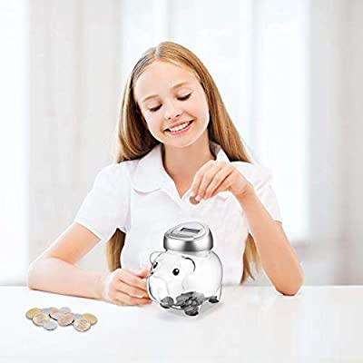 Automatic Coin Counter Totals All U.S Coins Younion Digital Coin Bank Silver Clear Money Saving Jar with LCD Display