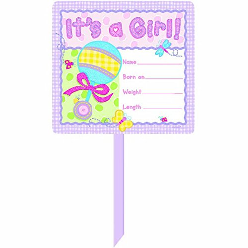 Design Personalized Announcement - Hugs & Stiches 'It's a Girl' Personalized Yard Sign | Multicolor | Party Decor