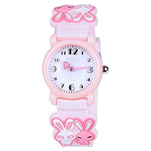 Venhoo Kids Watches Cartoon Waterproof Silicone Children Wristwatches Time Teacher Gifts for Girls (Pink Rabbit)