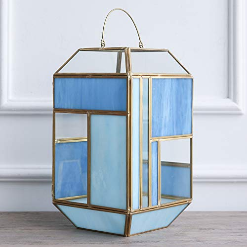 (Cyl Home Candle Lanterns Tiffany Stained Church Glass Brass Frame Hanging Hurricane Tea Light Holder Lamp Polyhedral Centerpiece Accent Gift Wedding, Tea Party, Green Blue Tint, 12.6'' H x 7.1'' D)