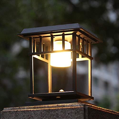 HviLit Classic Black Finish Square Solar Column Light Post Lantern Modern Garden Landscape Lighting Outdoor Rainproof Waterproof Pillar Lamp Aluminum Metal Exterior Rainproof Lawn Table Lamp (Outdoor Lighting Pillars)
