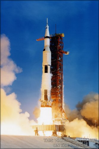 Saturn V Rocket Launches Apollo 11 Poster