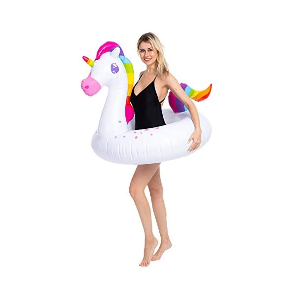 JOYIN Inflatable Flamingo and Unicorn Pool Float 2 Pack, Fun Beach Floaties, Swim Party Toys, Summer Pool Raft Lounger… 4