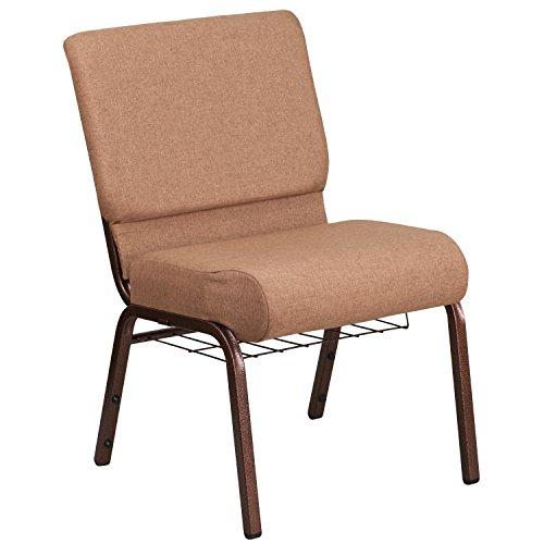 - Flash Furniture HERCULES Series 21''W Church Chair in Caramel Fabric with Cup Book Rack - Copper Vein Frame