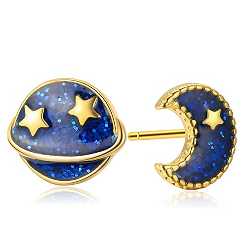 - sensitives Authentic 925 Sterling Silver Blue Moon And Star Stud Earrings For Women Silver Female Earrings Fashion Jewelry gold color