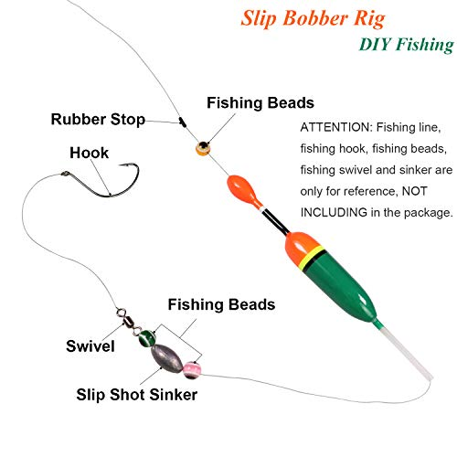 """thkfish Slip Bobbers Fishing Floats and Bobbers Balsa Wooden Fishing Slip Bobbers for Crappie Panfish Walleyes Bass Trout Pike 0.18oz(2.32""""X0.67""""X5.63in) 0.53oz (3.54""""X0.79""""X7.09in) 5pcs Red"""