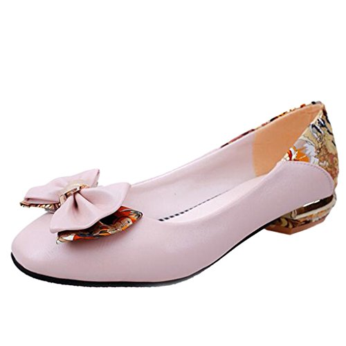 Binying Women's Bowknot Print Thick-Heel Pumps Pink