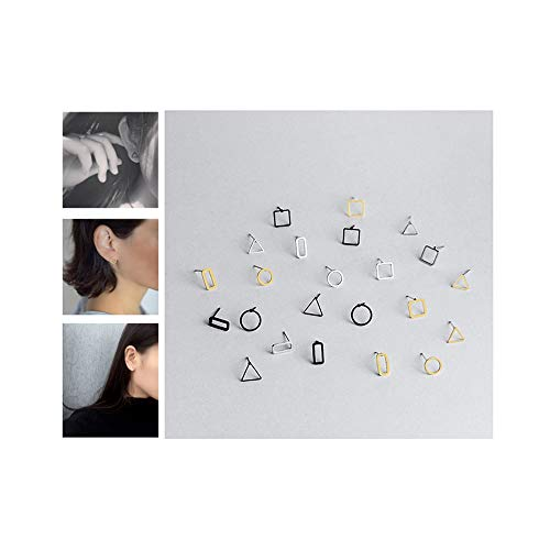 ANGELANGELA Mini 12 Pairs Geometric Stud Earrings, Copper Line Stick Rectangle Bar Ball Round Triangle Square Cube Ear Stud for Men and Women (12 Pairs Hollow Geometric) ()