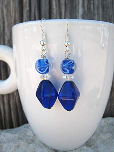 (Royal Blue Glass Handmade Beaded Earrings)