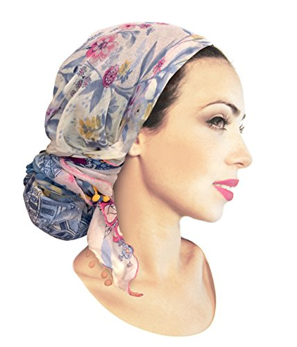 Soft Lightweight pre-Tied Head-Scarf Tichel: Weightless Collection! (Navy Blue Pink Paisley Long pom (Decorative Headband Fabric With Feather)