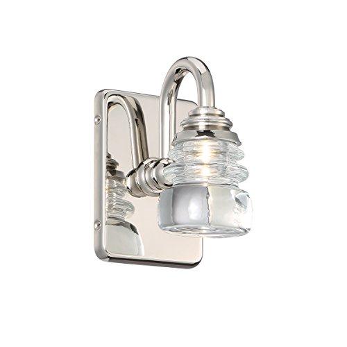 Polished Nickel Single Light - WAC Lighting WS-42505-PN Single Light Polished Nickel Rondelle LED Wall Sconce, 1, Opal